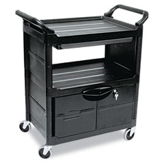 RCP 345700BLA Utility Cart W/Locking Doors, 2-Shelf, 33-5/8W X 18-5/8D X 37-3/4H, Black