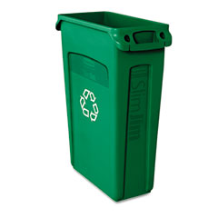 RCP 354007GN Slim Jim Recycling Container W/Venting Channels, Plastic, 23 Gal, Green