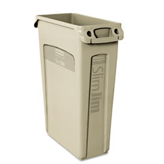 RCP 354060BG Slim Jim Receptacle W/Venting Channels, Rectangular, Plastic, 23 Gal, Beige