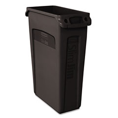 RCP 354060BK Slim Jim Receptacle W/Venting Channels, Rectangular, Plastic, 23 Gal, Black