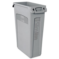 RCP 354060GY Slim Jim Receptacle W/Venting Channels, Rectangular, Plastic, 23 Gal, Gray