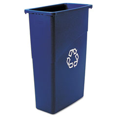 RCP 354075BE Slim Jim Recycling Container, Rectangular, Plastic, 23 Gal, Blue