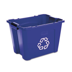 RCP 571473BE Stacking Recycle Bin, Rectangular, Polyethylene, 14 Gal, Blue