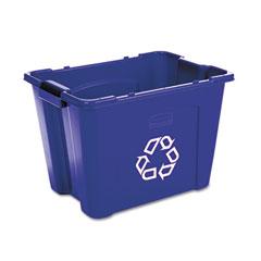RCP 571473BE Stacking Recycle Bin, Rectangular, Polyethylene, 14 Gal, Blue