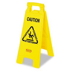 "RCP 611200YW Multilingual ""Caution"" Floor Sign, Plastic, 11 X 1-1/2 X 26, Bright Yellow"