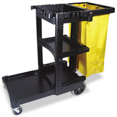 RCP 617388BK Multi-Shelf Cleaning Cart, 3-Shelf, 20W X 45D X 38-1/4H, Black