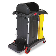 RCP 9T7500BK High-Security Healthcare Cleaning Cart, 22W X 48-1/4D X 53-1/2H, Black