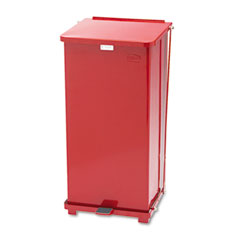 Rubbermaid commercial - defenders biohazard step can, square, steel, 24 gal, red, sold as 1 ea