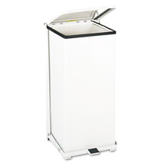 Rubbermaid commercial - defenders biohazard step can, square, steel, 24 gal, white, sold as 1 ea