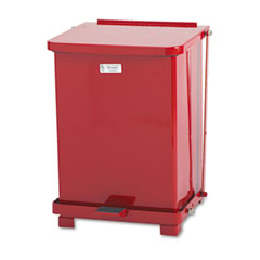 Rubbermaid commercial - defenders biohazard step can, square, steel, 7 gal, red, sold as 1 ea