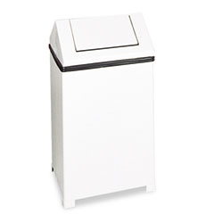 RCP T1424ERBWH Fire-Safe Swing Top Receptacle, Square, Steel, 24 Gal, White