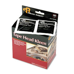 Read Right RR1301 Tape Head Kleen Pad, Individually Sealed Pads, 5 X 5, 80/Box
