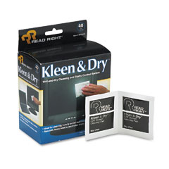 Read Right RR1305 Kleen & Dry Screen Cleaner Wet Wipes, Cloth, 5 X 5, 40/Box