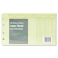 National brand - extra sheets for four-ring ledger binder, 8-1/2 x 5-1/2, 100/pack, sold as 1 pk