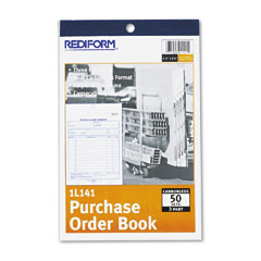 Rediform 1L141 Purchase Order Book, 5-1/2 X 7-7/8 Bottom Punch, Three-Part Carbonless, 50 Forms