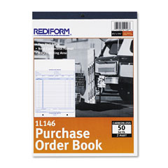Rediform 1L146 Purchase Order Book, Bottom Punch, Letter, Two-Part Carbonless, 50 Sets/Book
