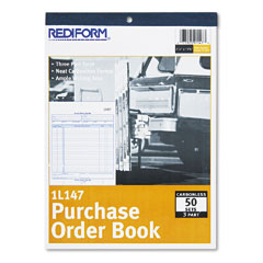 Rediform 1L147 Purchase Order Book, Bottom Punch, Letter, Three-Part Carbonless, 50 Sets/Book