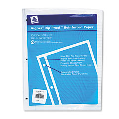 Rediform 20122 Rip Proof 20-Lb.College Ruled Reinforced Filler Paper, Letter, We, 100 Sheets/Pk
