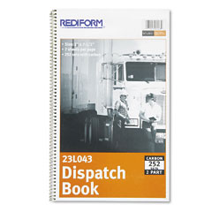 Rediform - driver's dispatch log book, 7-1/2 x 2, two-part carbonless, 252 sets/book, sold as 1 ea