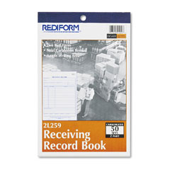 Rediform 2L259 Receiving Record Book, 5-1/2 X 7-7/8, Two-Part Carbonless, 50 Sets/Book
