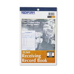 Rediform - receiving record book, 5-1/2 x 7-7/8, three-part carbonless, 50 sets/book, sold as 1 ea