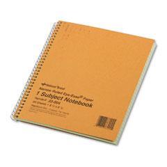 National brand - subject wirebound notebook, narrow rule, 8-1/4 x 6-7/8, green, 80 sheets, sold as 1 ea