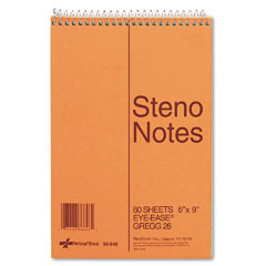 National brand - standard spiral steno book, gregg rule, 6 x 9, green, 60 sheets/pad, sold as 1 ea