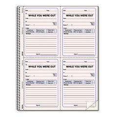 Rediform - wirebound message book, 4 x 5-1/2, two-part, 200 forms, 120 alert labels, sold as 1 ea