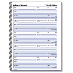 Rediform - voice mail wirebound log books, 8 x 10-5/8, 500 sets/book, sold as 1 ea