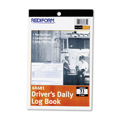 Rediform - driver's daily log, 5-1/2 x 7-7/8, duplicate with carbons, 31 sets/book, sold as 1 ea