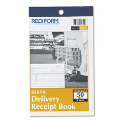 Rediform - delivery receipt book, 6-3/8 x 4-1/4, two-part carbonless, 50 sets/book, sold as 1 ea