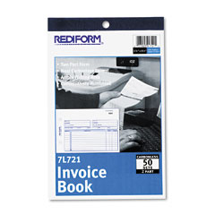 Rediform - invoice book, 5-1/2 x 7-7/8, carbonless duplicate, 50 sets/book, sold as 1 ea