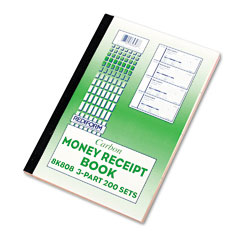 Rediform - money receipt book, 2-3/4 x 7, triplicate with carbons, 200 sets/book, sold as 1 ea
