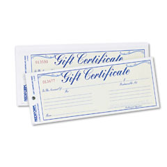 Rediform - gift certificates w/envelopes, 8-1/2w x 3-2/3h, blue border, 25/pack, sold as 1 pk