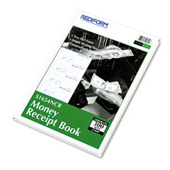 Rediform - hardcover numbered money receipt book, 2-3/4 x 6-7/8, two-part, 300 forms, sold as 1 ea