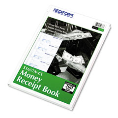 Rediform - hardcover numbered money receipt book, 6-7/8 x 2-3/4, three-part, 200 forms, sold as 1 ea
