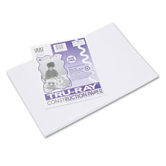 Pacon 103058 Tru-Ray Construction Paper, 76 Lbs., 12 X 18, White, 50 Sheets/Pack