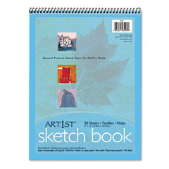Pacon - artist's sketch book, unruled, 80lb, 9 x 12, white, 30 sheets/pad, sold as 1 ea