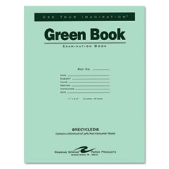 Roaring spring - green books exam books, stapled, 8 sheet/16-page, wide rule,11 x 8 1/2,, sold as 1 ea