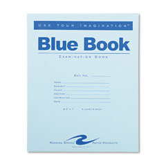 Roaring Springs 77510 Exam Blue Book, Wide Rule, 8-1/2 X 7, White, 4 Sheets/8 Pages