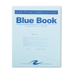 Examination Blue Book, Wide/Legal Rule, 8.5 x 7, White, 12 Sheets | by Plexsupply