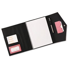 Rolodex 1734453 Journal, Spiral Notebook, Faux Leather, Snap Close, File Pocket, Resilient Pink