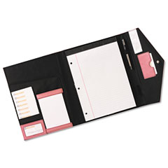Rolodex 1734454 Pad Folio, Faux Leather, Snap Close, Letter Size Pad, Resilient Pink