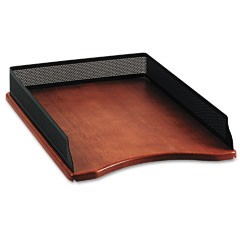 Rolodex ROL22613 Distinctions Self-Stacking Legal Desk Tray, Metal/Wood, Black/Rich Cherry