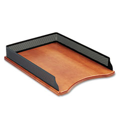 Rolodex ROLQ22711 Distinctions Self-Stacking Desk Tray, Metal/Wood, Black/Cherry