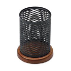 Rolodex ROLQ22721 Distinctions Metal and Wood Pencil Cup, 3 1/2 dia. x 4 1/2, Black/Cherry