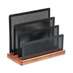 Rolodex ROLQ22731 Mini Sorter, Three Sections, Metal/Wood, 7 1/2 x 3 1/2 x 5 3/4, Black/Cherry