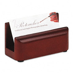 Rolodex - wood tones business card holder, capacity 50 2 1/4 x 4 cards, mahogany, sold as 1 ea