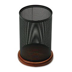 Rolodex ROL23540 Distinctions Jumbo Metal and Wood Pencil Cup, 4 1/2 dia. x 6 1/2, Black/Cherry