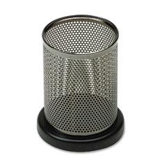 Rolodex E23569 Distinctions Metal And Wood Pencil Cup, 3 1/2 Dia. X 4 1/2, Black